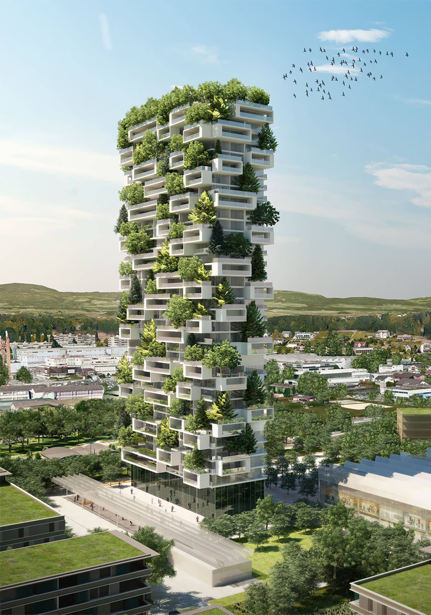 building, tower, tree building, stefano boeri, complex, architecture, design, greenry, green tower, innovative, La Tour des Cedres, Lausanne, Switzerland, tree tower, vertical forest, tree building, amazing