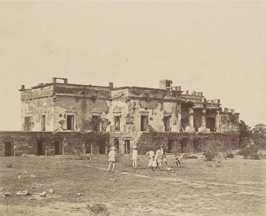 Hindu Rao's House in Delhi, Heavily Damaged in Indian Mutiny of 1857 Photographed in 1858
