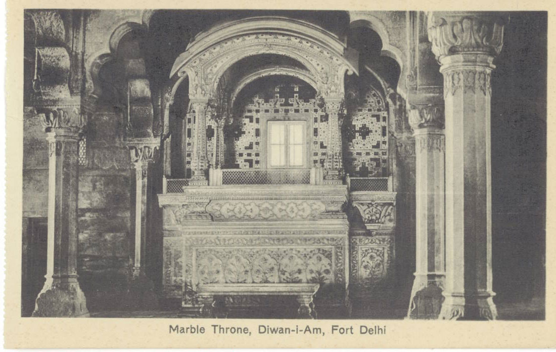 Marble Throne in Diwan-I-Aam in Red Fort Delhi