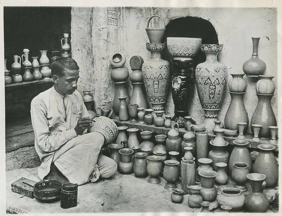 Pottery Maker working in his Studio, Delhi-1931