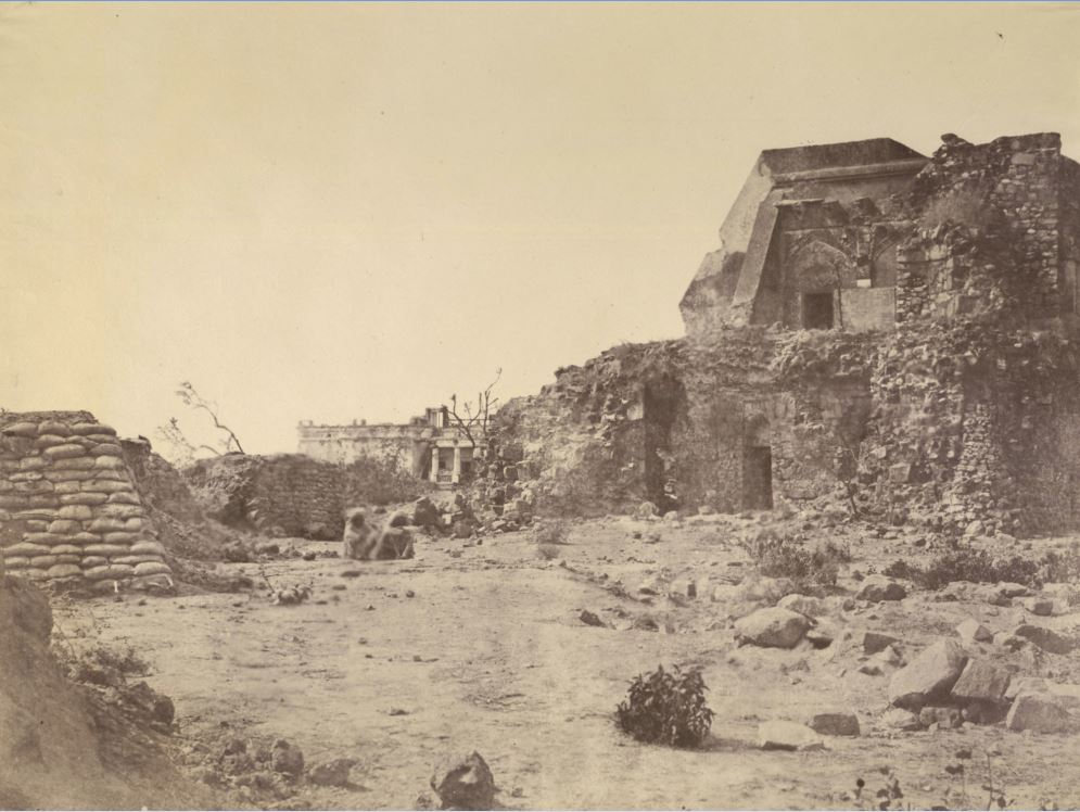 Ruins-of-Pir-Ghaib-Observatory-and-Hindu-Rao's-House-in-the-Distance-in-Delhi-Ridge---Delhi-1858