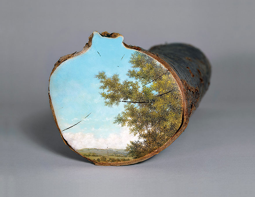 log, paintings, landscapes, Alison Moritsugu, idyllic painting, landscape painting, log paintings, nature painting, paintings on logs, paintings on stumps, pastoral painting, stump paintings, stumps, tree cross sections, tree slices, artist, painter, amazing, wow, awesome,beautiful, nature, warning, tree, tree painting