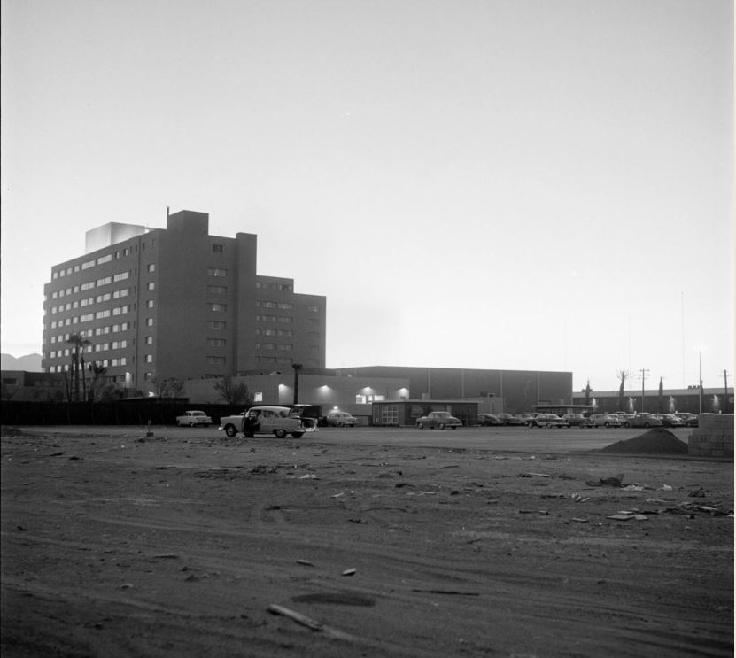 Riviera, Las Vegas in 1955 . This building was the first high rise on the Las Vegas strip, and now it's the strip's oldest existing structure.