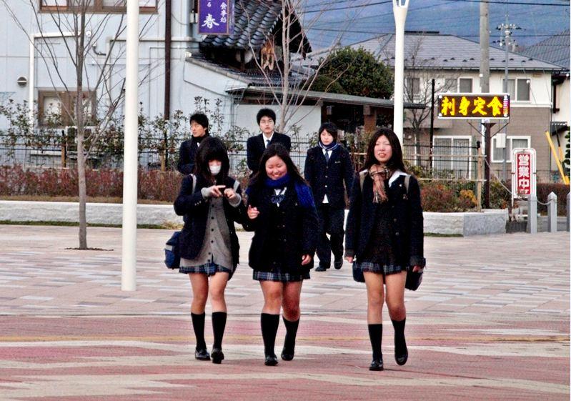 japan, japanese, school girl, fashion, weird, winter, kogal, japanese schoolgirl, asian, short skirts, snow festival