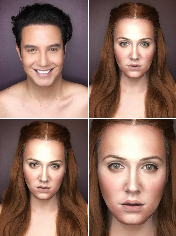 Game Of Thrones, arya stark, Brienne of Tarth, Cersei Lannister, Daenerys Targaryen, Game of Thrones makeup, GOT, GoT makeup, makeup, makeup transformation, Margaery Tyrell, Melisandre, Paolo Ballesteros, Sansa Stark, creativity, idea