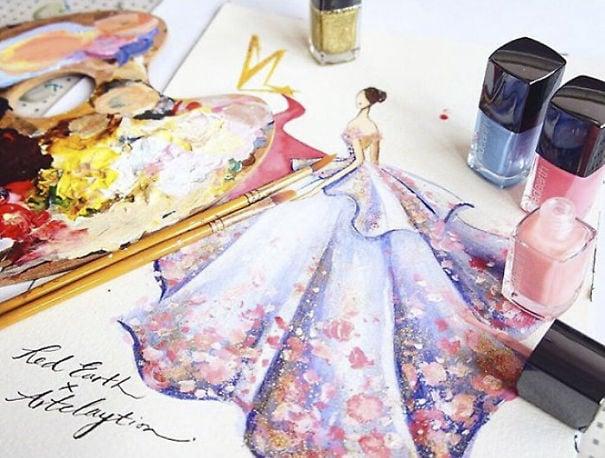 Chan Clayrene, fashion, art, artist, paintings, illustration, nail polish, watercolour, beautiful, wow, amazing, awesome