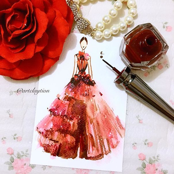 Chan Clayrene, fashion, art, artist, paintings, illustration, nail polish, watercolour, beautiful, wow, amazing, awesome