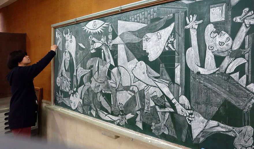 art teacher, blackboard, chalk, chalk art, chalk drawing Hamacream, Hirotaka Hamasaki, photography, amazing, wow