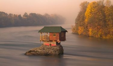 drina river house, bajina basta, serbia, drina river bridge, bizarre, house, europe