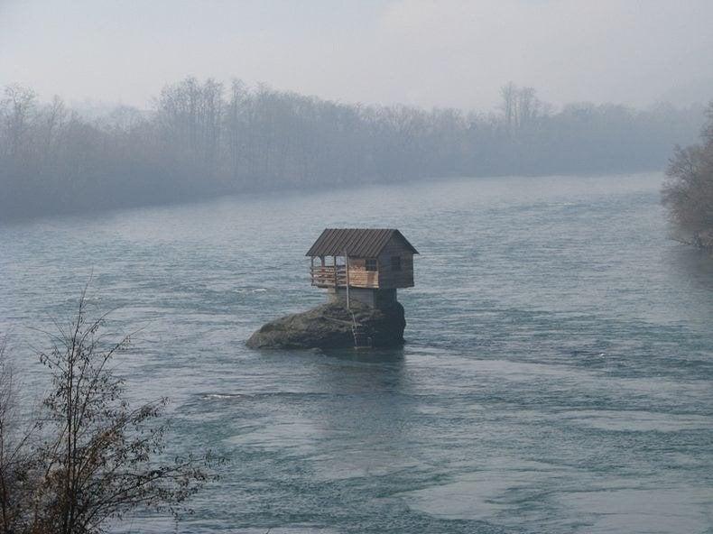 drina river house, bajina basta, serbia, drina river bridge, bizarre, house, europe