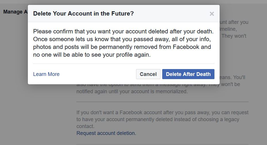 Facebook account deletion request